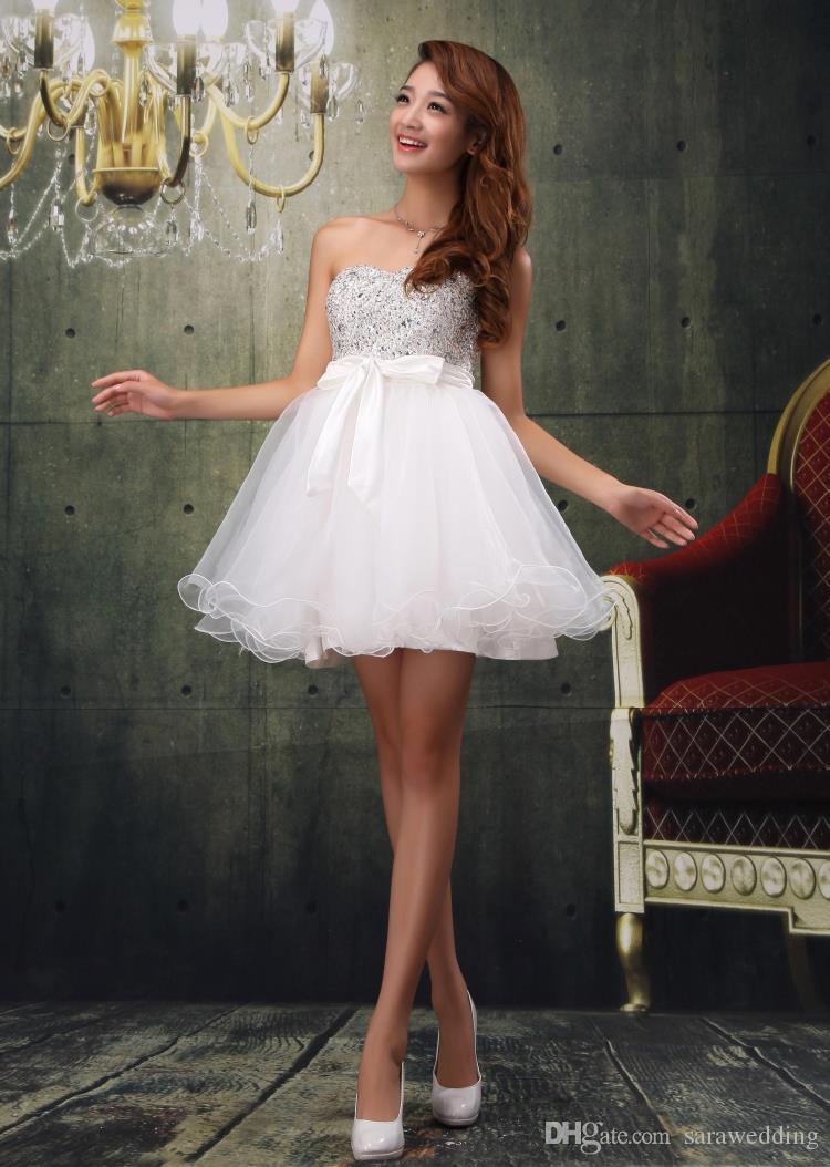 Бисероплетение Кристалл Люкс Короткое Коктейльное Платье 2016 Бальное платье Милая Вечернее Платье Vestido De Festa Curto
