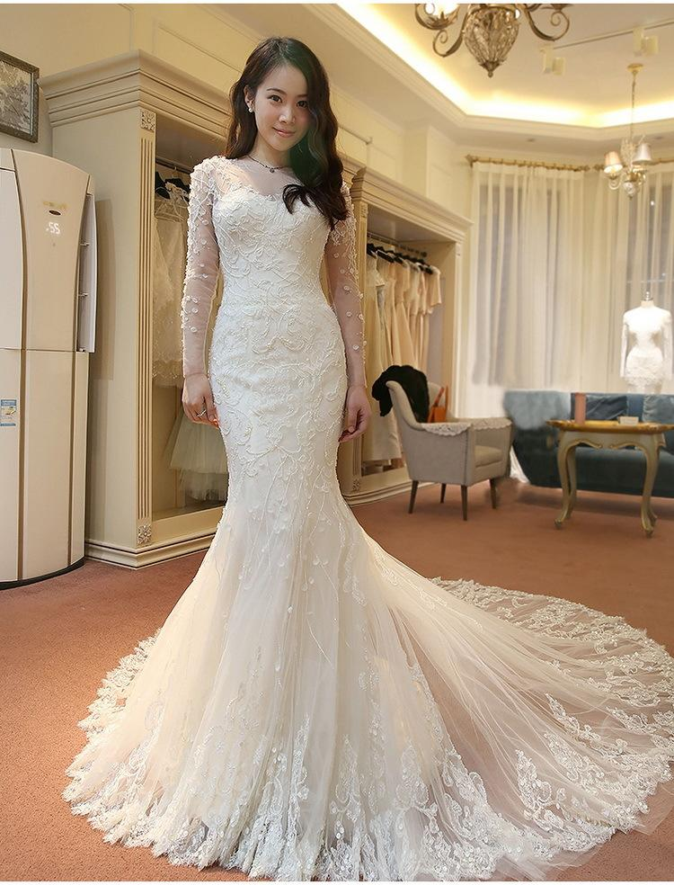 d3cc215e38e 2018 Full Lace Wedding Dresses Mermaid Long Sleeves Bridal Gowns 3D Flower  Gorgeous Long Wedding Gowns With Crew Neck Court Train Designer Bridal  Dresses ...