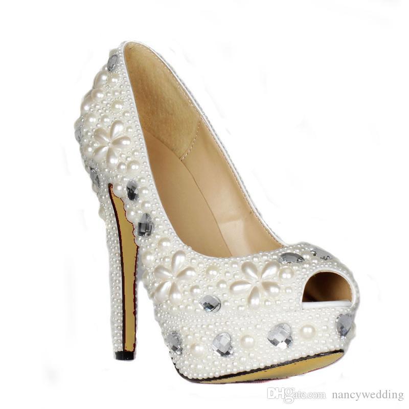 Handmade Spring Women Platforms Ivory Pearl Peep Toe Wedding Bridal Shoes Crystal Evening Party Dress Pumps Bridesmaid Shoes