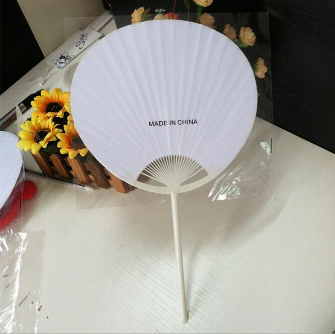 2018 wholesale cheap 2015 chinese style white round paper hand fans