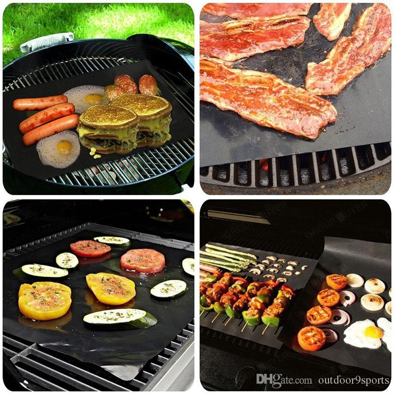 New Non-Stick BBQ Grill Mat Thick 0.2mm Durable 33*40CM Gas Grill Barbecue Mat Reusable BBQ Cover Cooking Baking Microwave Mats for Sale