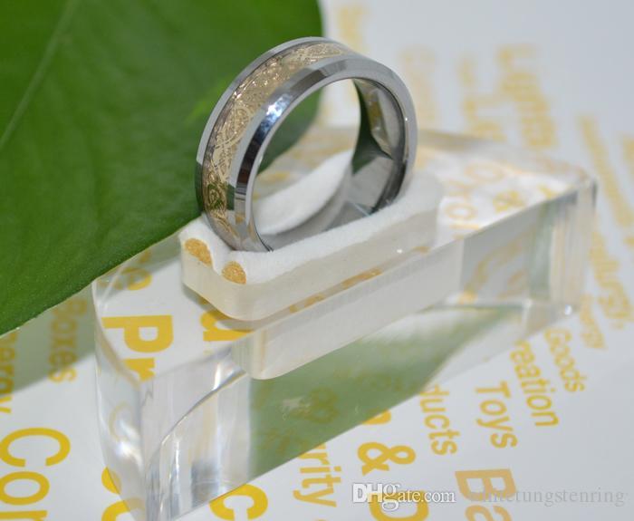 Anelli in tungsteno concavo placcato oro 18k gioielli da uomo anelli di fidanzamento