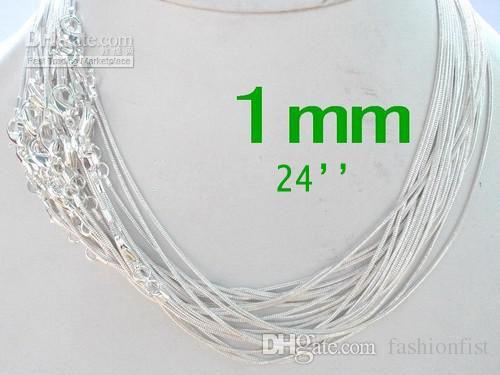 Promosyon Satış 925 Ayar Gümüş Pürüzsüz Yılan Zinciri Kolyeler Takı 1.0mm 16 '' 18 '' 20 '' 22 '' 24 '' Mix Free