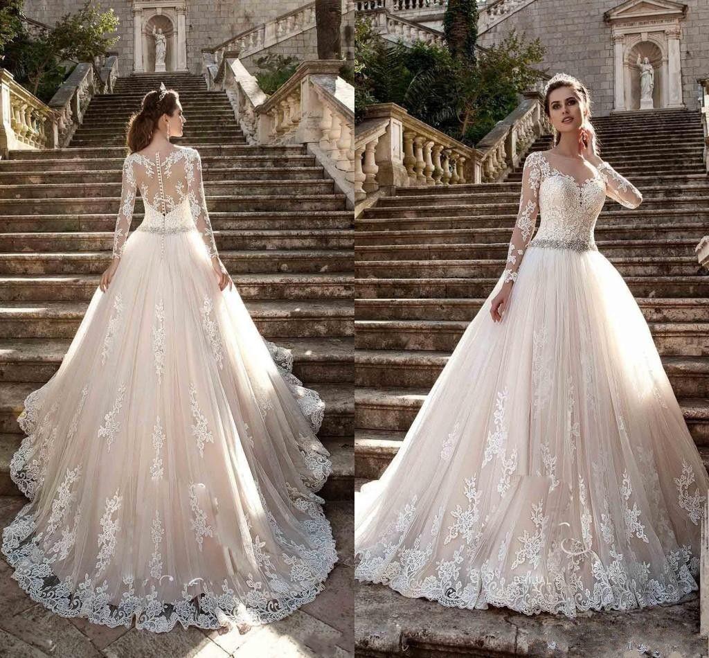 e569e351262 Discount Milla Nova 2018 Wedding Dresses Jewel Neck Long Sleeves Lace  Appliques Beaded A Line Court Train Blush Pink Tulle Plus Size Bridal Gowns  Wedding ...