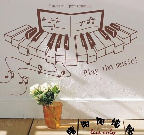 Free Shipping Play The Music Wall Stickers Kids Home Decoration Pub  Restaurant Cafe Shop Bar Piano Notes Pegatinas Wall Decals Part 43