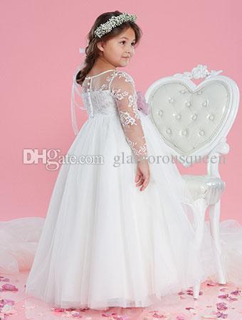 가장 사랑스러운 볼 가운 보석 층 길이 Organza 긴 얇은 레이스 슬리브 꽃 걸스 드레스 꽃 웨딩 파티 미식가 드레스