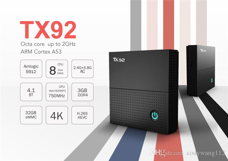TX92 Octa Core Android 7.1 Amlogic S912 TV BOX 3G 32G 2.4G 5G WiFi Bluetooth Media Player