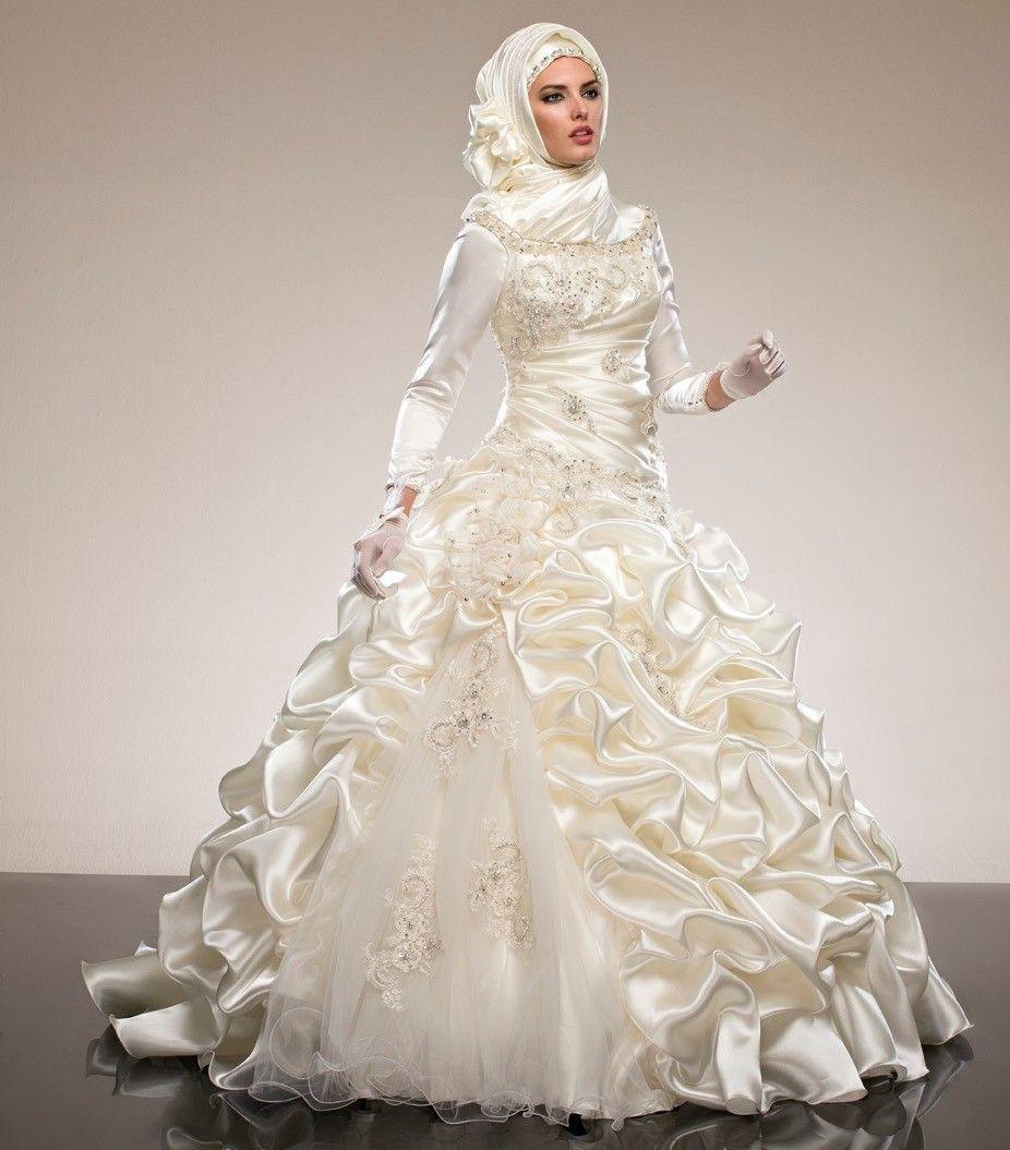 Saudi Arabia Abaya Long Sleeves Muslim Wedding Dresses Ball Gowns ...