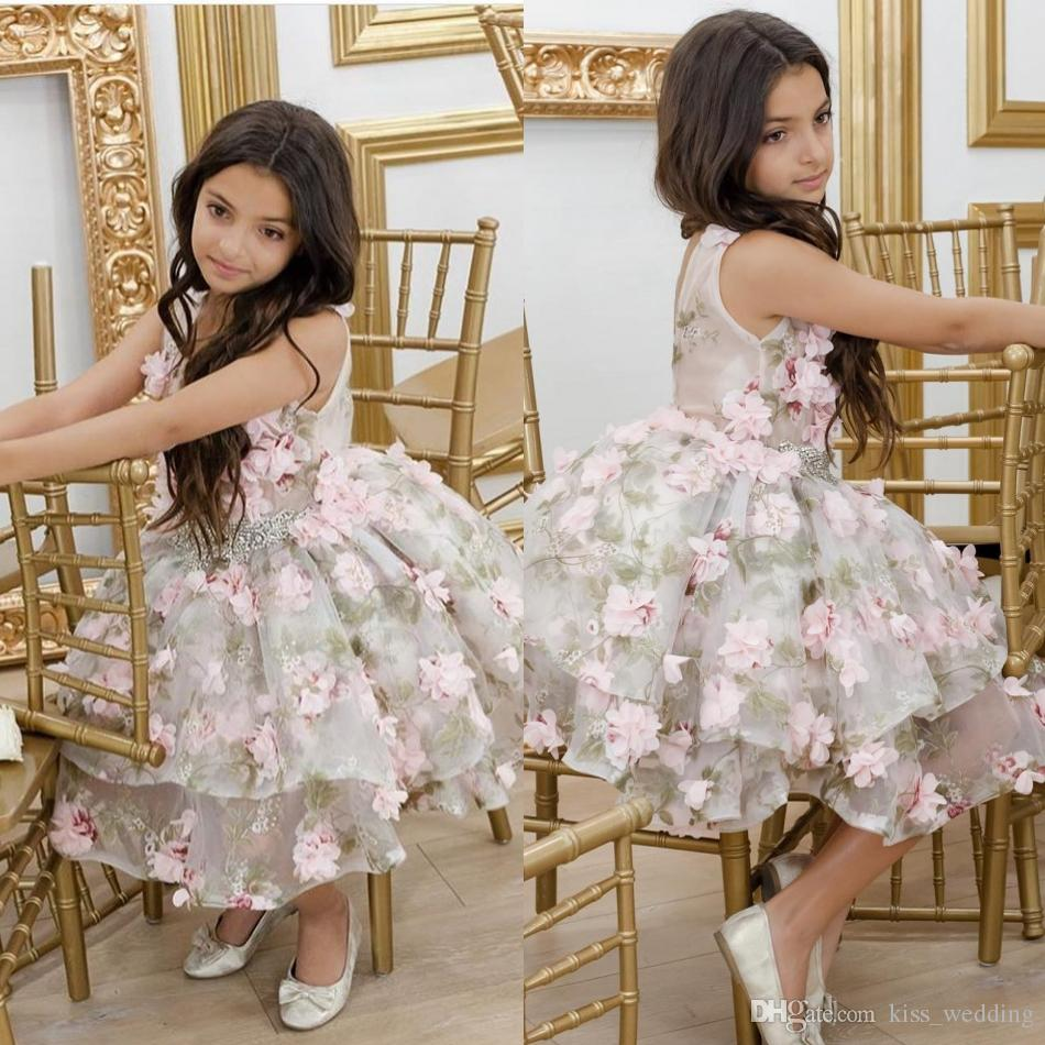 Pretty Knee Length Pink Flowers Girls Pageant Dresses Lovely ...