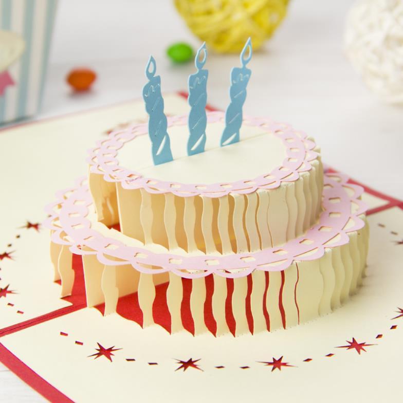 Happy Birthday Cake Homemade Creative Laser Cut 3d Pop Up Greeting