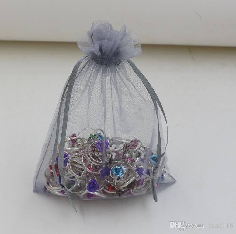 Ventas calientes ! Bolsas de regalo de organza con cordón gris plateado 7x9cm 9x11cm 13x18cm Bolsas de regalo de fiesta de bodas de Navidad