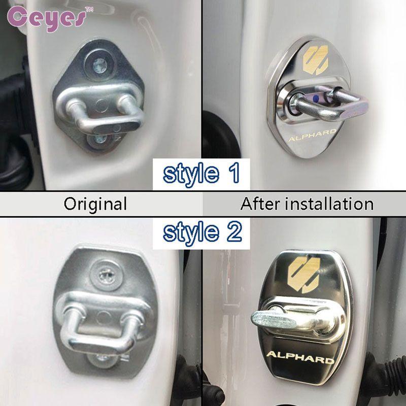 Accessori auto Car Door Lock Cover Toyota Alphard Vellfire 2012-2017 Badges Door Lock Cover Protettiva Car Styling 4 pz / lotto