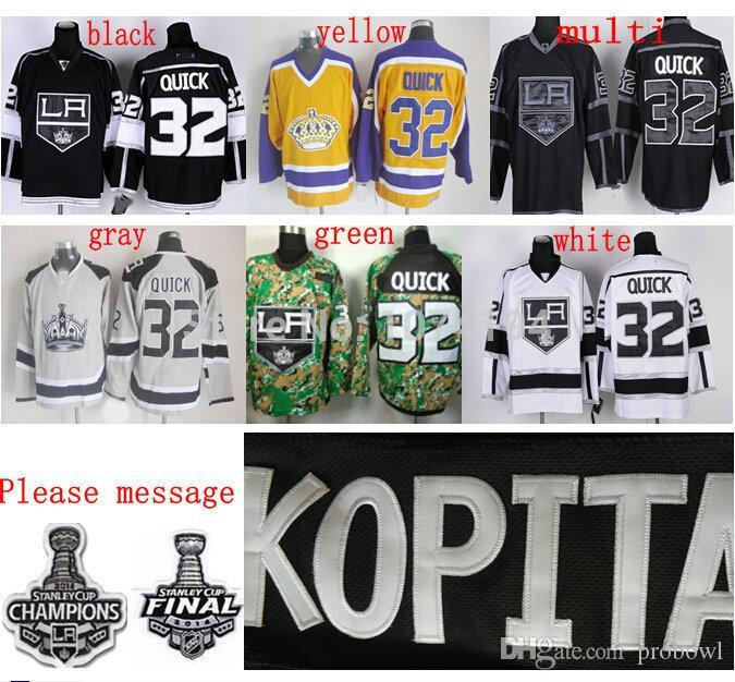 2018 2014 Stanley Cup La Kings JerseyLos Angeles 32 Jonathan Quick Jersey Home Black Road White Stadium Series Hockey From Probowl