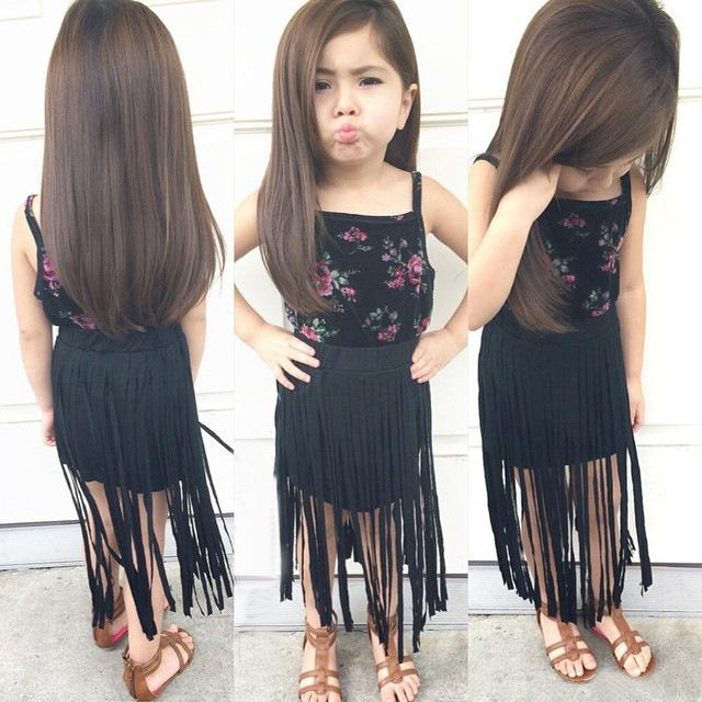 e2e659c537 Children Girls summer Suihua sling+Fringed skirt Baby size  2-3-4-5-6-7 for  about 0-2T 2-7T children Color as photo free shipping