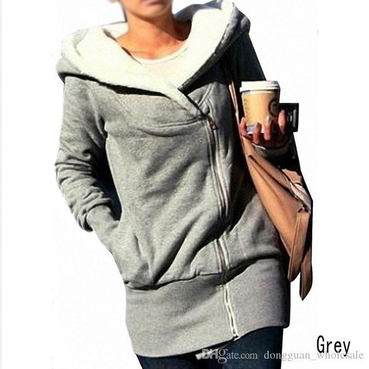 Vendita calda moda donna autunno inverno lungo Zip Top con cappuccio cappotto giacca tuta sportiva cappotto donna GWF-684820