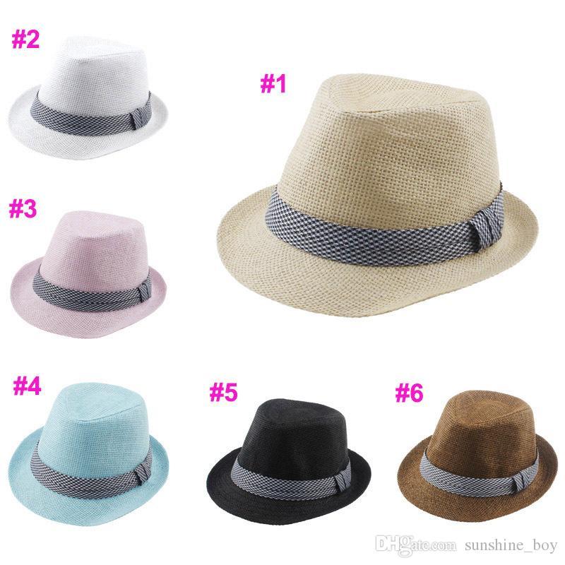 12997ab72b0 2016 NEW Kids Straw Fedora Hat Baby Summer Straw Cowboy Hat Boys ...