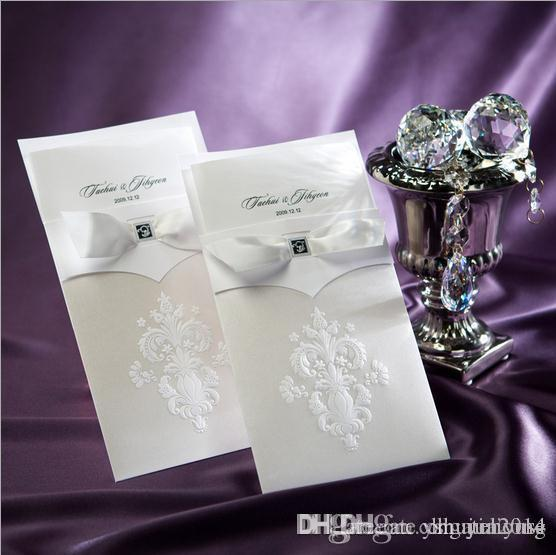 Vintage Wedding Invitations White Flower Pattern Free Printable