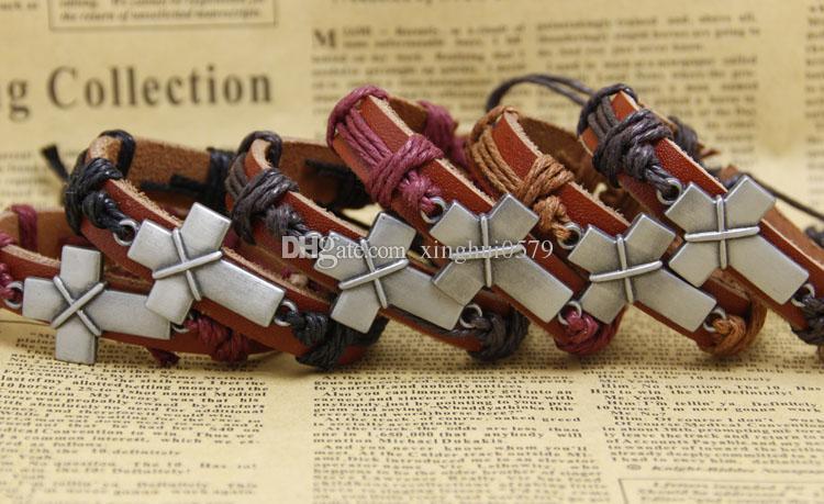 cross bracelets Designs Leather Bracelet Antique Cross Knitting Bronze Charm Bracelets mens bracelets women jewelry