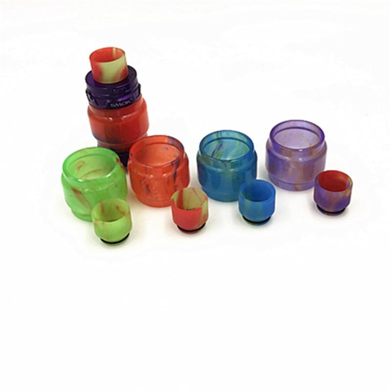 Colorful Resin Replacement Tube Caps Big Capacity Wide Drip Tips Kit For TFV12 Glass Tank Expansion Tank Epoxy Visual Ability Hot Sale