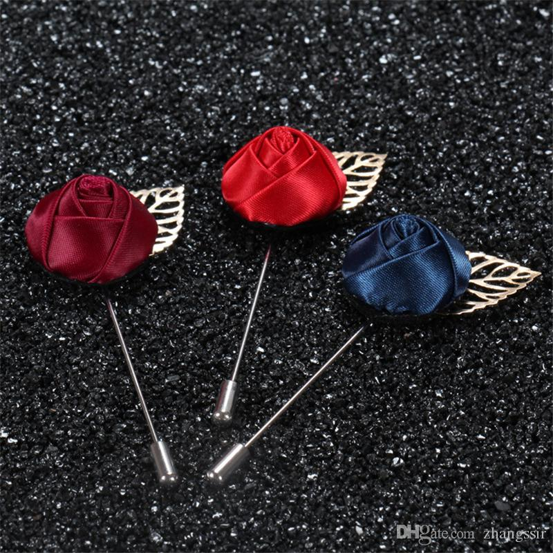 BoYuTe New product Rose Lapel Pin Mens Suit Accessories Wedding Boutonniere Brooch Pins Christmas Decorations