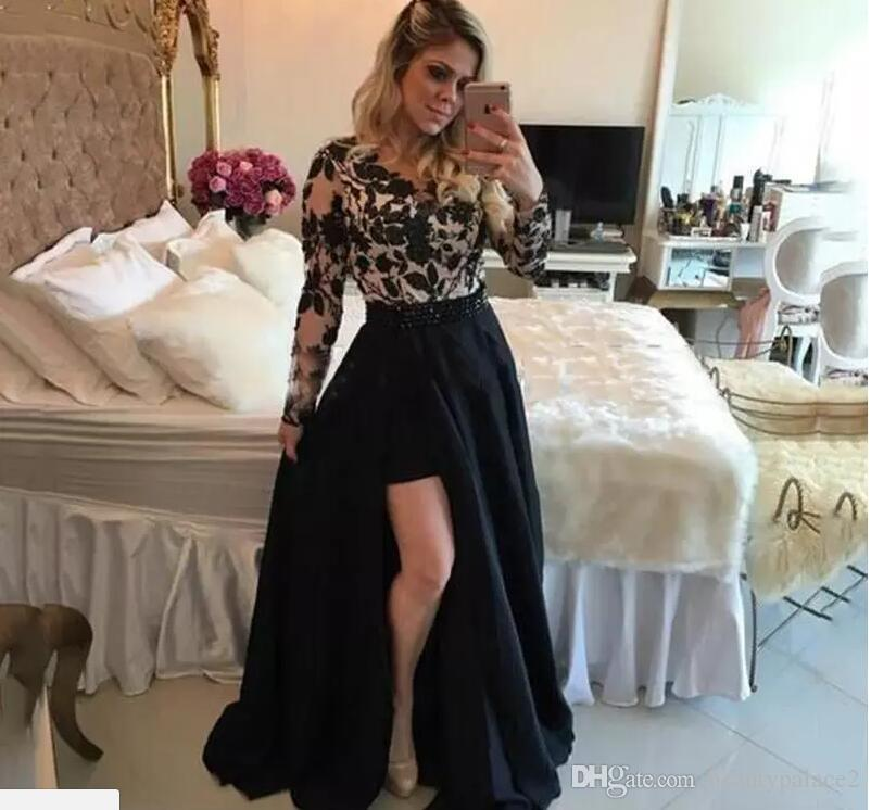 Sexy See Through Black Barbara Melo Long Sleeves High Low Prom Dresses With Detachable Skirt Lace Applique Evening Party Dresses Gowns
