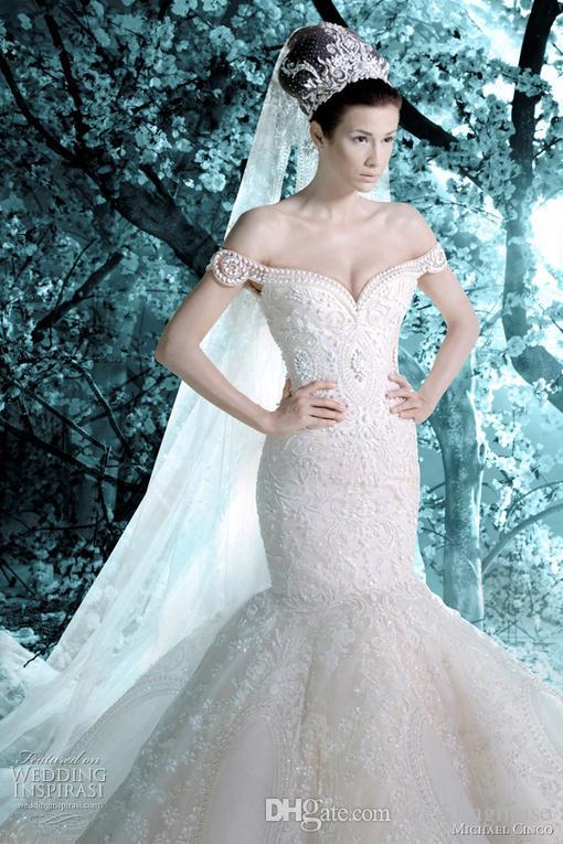 Nowy Luksusowy Micheal Cinco Vintage Suknie Ślubne Off Ogród Ramię Mermaid Koronki Aplikacje Perły Suknie Ślubne z welonem DL1314214