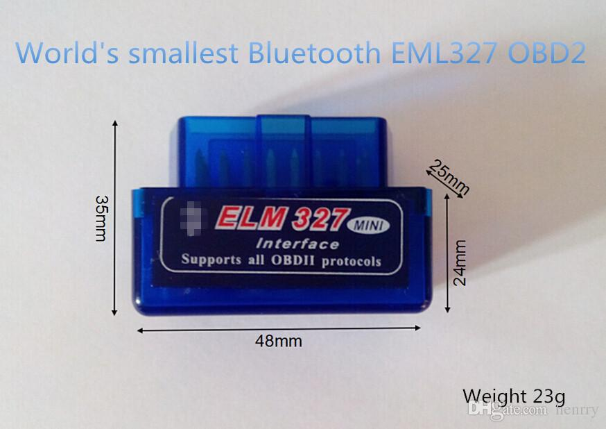 ELM327 BT Bluetooth OBD2 Wholesale Black Blue White Super Mini Bluetooth OBDII Elm327 Support All Obdii V2.1 Torque