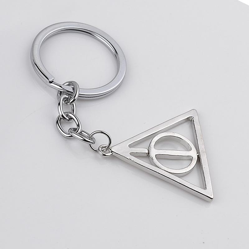 The Deathly Hallows Keychain Key Rings Rotatable Triangle Pendant Fans New Fashion Jewelry Gift Drop Shipping