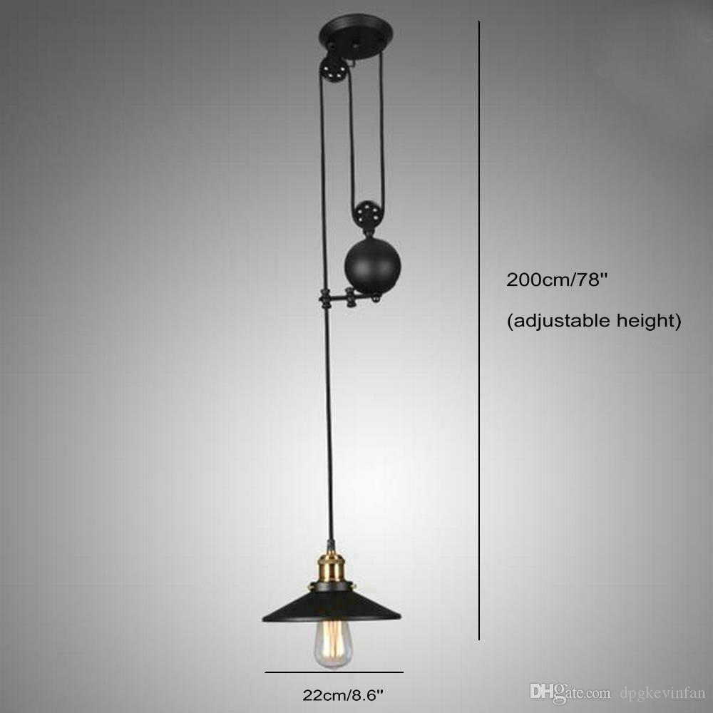 Vintage Pendentif lumières Fixtures Style Loft Hanglamp Poulie Rétro lampe d'éclairage Noir Métal Industriel Chambre Salle à manger Bar Chambre
