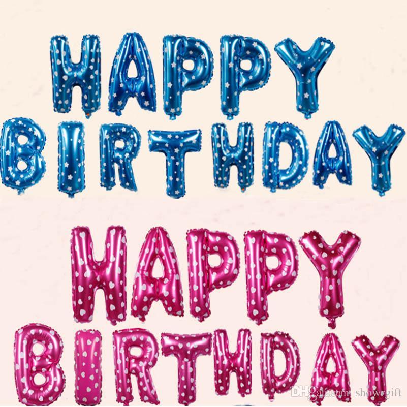 Alles Gute zum Geburtstag Brief Luftballons Birthday Party Dekorationen Alphabet 16inch Aliuminum Folienballon-Party liefert 13 Buchstaben /