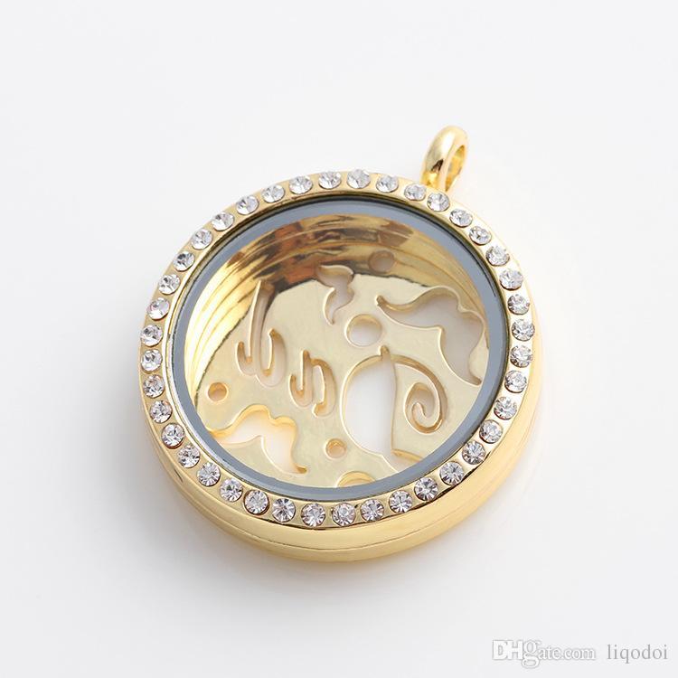 Top liga de zinco pingente de jóias acessórios Fram caixas magnéticas flutuante charme medalhão design hollowed-out com strass jóias finas