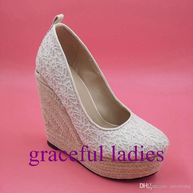 2015 Real Image Lace zapatos de boda más el tamaño de las mujeres sandalias de verano cuñas del talón por encargo sandalias de plataforma Nuevo llega barato fiesta modesta