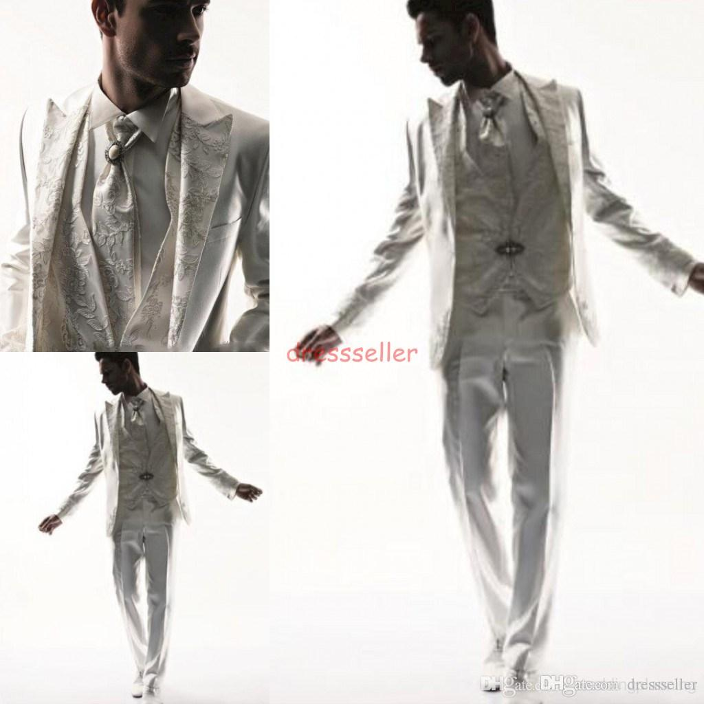 2015 white Mens suits Tuxedos Business Suit Brand Boss Dress Suit For Men's Wedding Formal Business Boys Suits Groom White Tuxedos Tailcoat