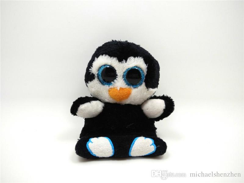 EMS 6 inch TY pinguin eule Plüschtiere 2016 NEUE kinder cartoon 15 cm Schöne Regenbogen farben handy sitz Plüschtier Puppe B001
