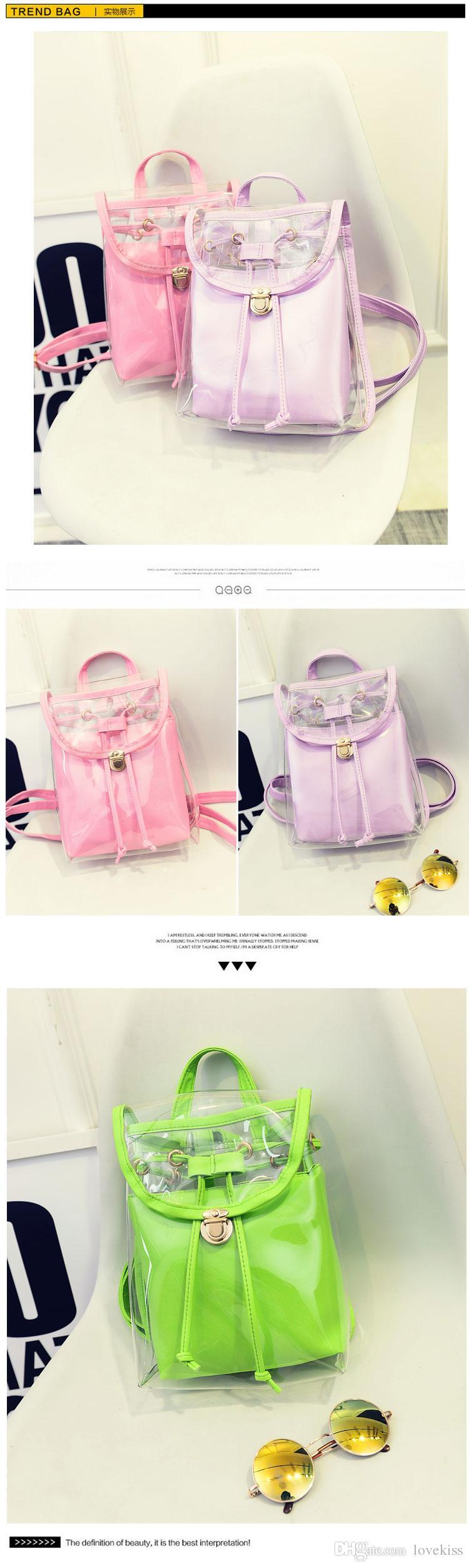 Koreanska godis skolbag strandväskor tjejer gelé färg lucency lady ryggsäck barn barn casual
