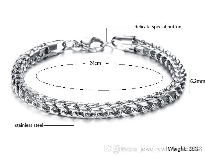 Fashion Jewelry Stainless Steel Titanium Silver Chains Men Bangle Bracelet Male Charm Thick Wristband Bracelet