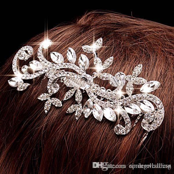 Ювелирные изделия с бриллиантами Leaf Crystal Имитация Rhinestone Свадебные Диадемы Расчески для волос Заколка для волос Свадебные аксессуары для волос Украшения для волос CPA199
