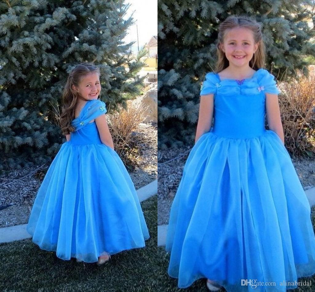 Blue Fahsion Cinderella Kids Girl's Pageant Dresses Cheap A Line Floor Length Ruffles Little Princess Flower Girl Gown For Wedding event