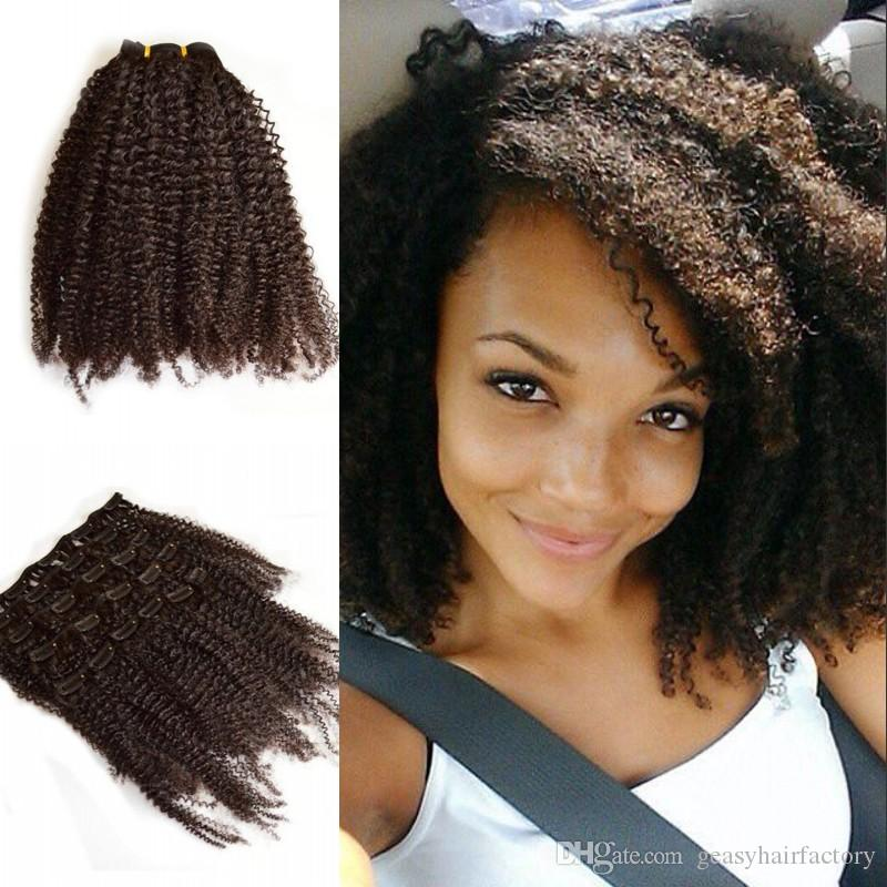 Brazilian Kinky Curly Clip In Hair Full Head 100% Unprocessed Virgin Human Hair  Extensions For Black Women LaurieJ Hair Small Hair Extension Clips Best Hair  ... d13979a45e