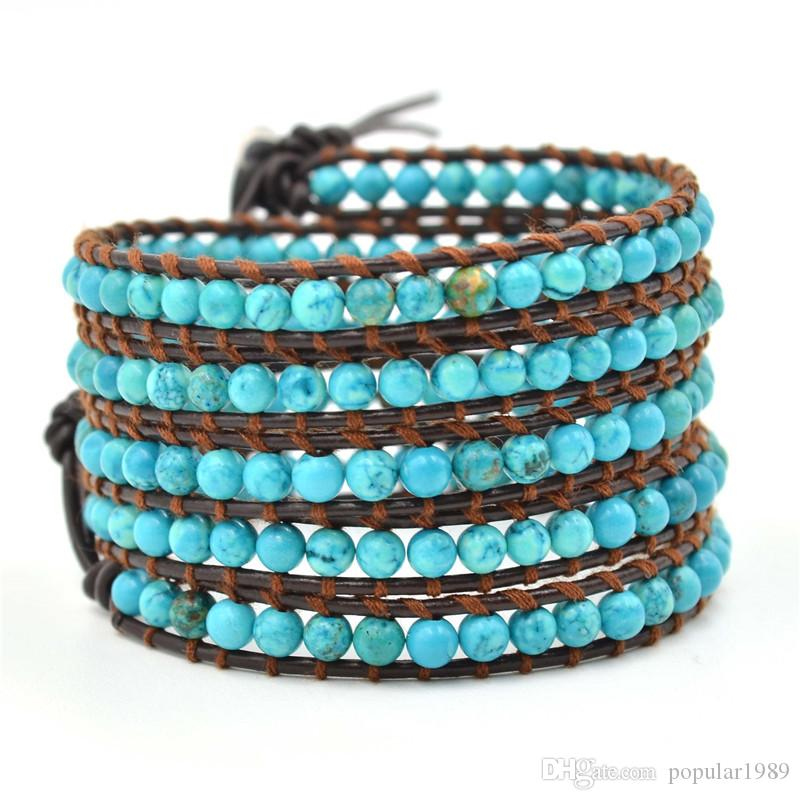2015 New 6mm blue turquoise bead wrap bracelet new design Colorful Bohemian Style Elasticity Handmade Natural Stone Beads