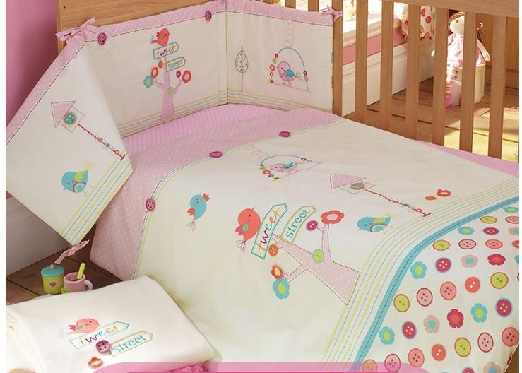 Embroidery bird flowers tree Baby bedding set Pink 100% cotton Crib bedding set quilt pillow bumper bed sheet 5 item Cot bedding set