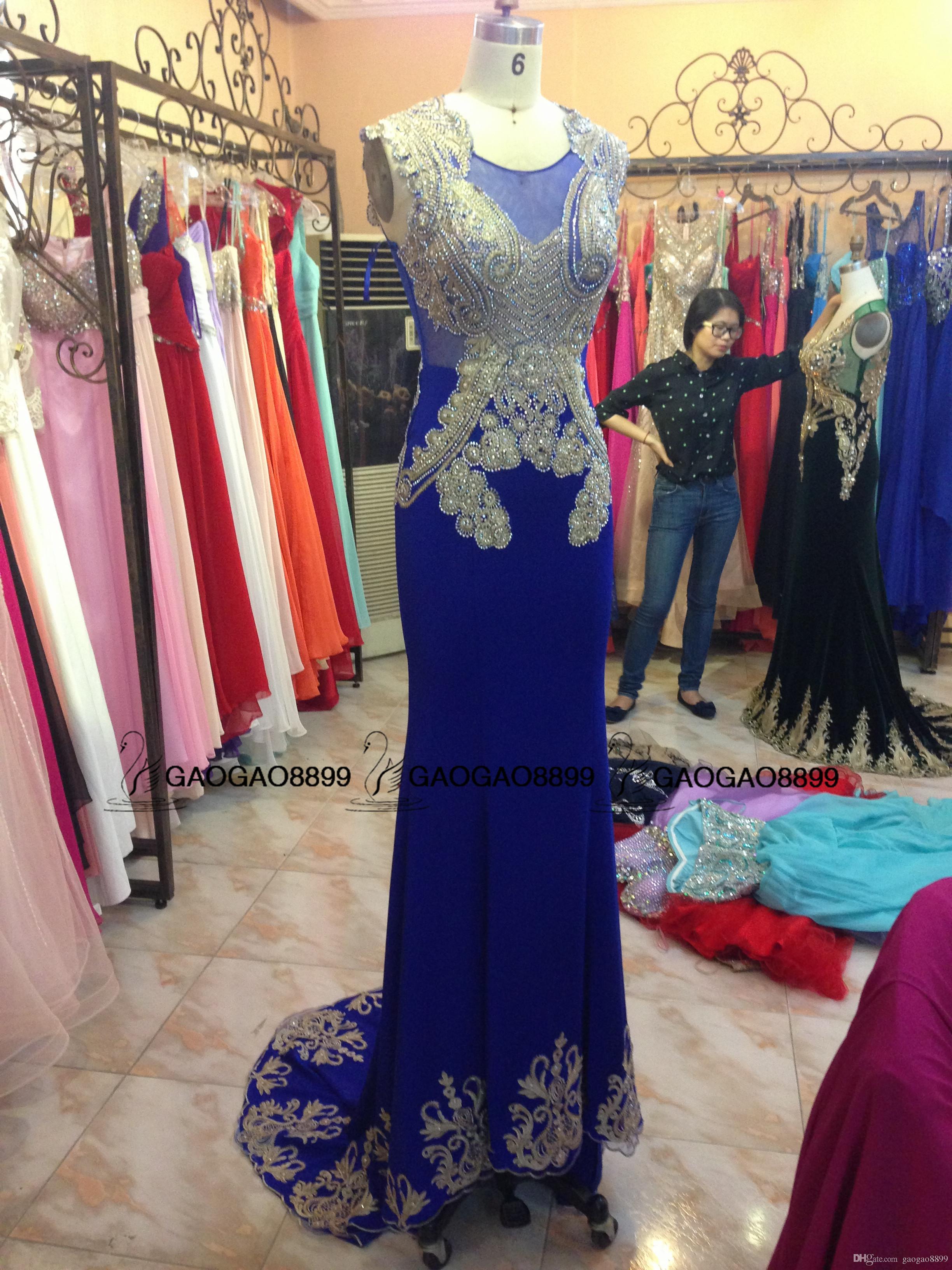 2019 Kraliyet Mavi Sparkly Lüks Rhinestones Mermaid Elbiseler Parti Akşam Giyim zuhair murad Özel Yapmak Balo Parti Örgün Önlükler