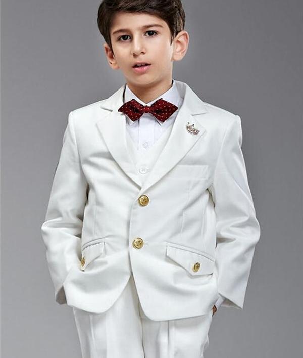 2016 Новый элегантный красивый белый мальчик смокинги с двумя пуговицами Childern одежда кольцо костюмы на предъявителя куртка + брюки + лук + жилет