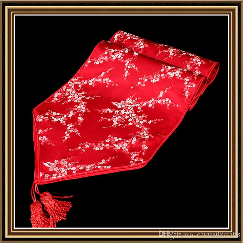 High Grade Classic Gorgeous Decorative Festive Table Runners Silk Brocade Cherry blossoms End Table Cloths Fashion Simple Bed Runner
