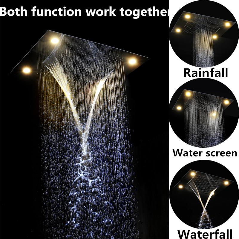 rain shower head with lights. Shop Bathroom Shower Heads Online  Embeded Ceiling Led Rain 60 80cm Rectangular 4 Function Remote Control Rainbow Rainfall