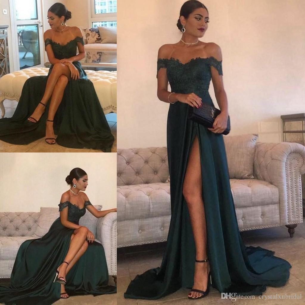 2018 New Prom Dresses Off Shoulder Cheap Long Dark Green Satin Lace  Appliques Side Split Cap Sleeves Party Dress Formal Evening Gowns Short  Tight Prom ... 40cc53384