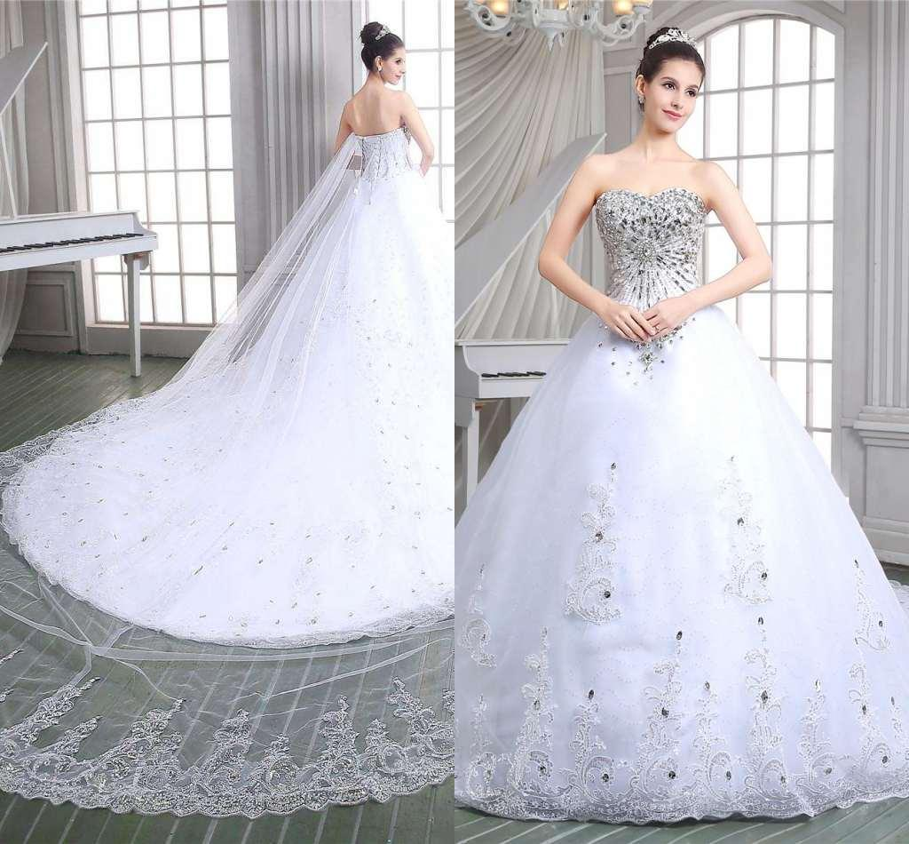 Luxury Royal Princess Ball Gown Wedding Dresses White Sweetheart ...
