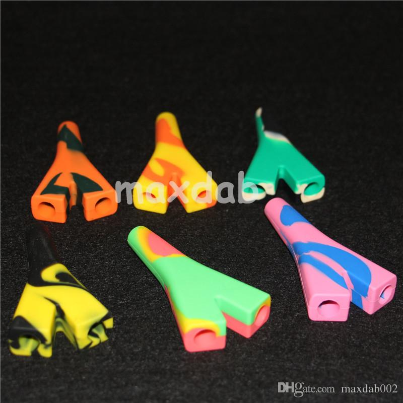 2 gemeinsame silikonpfeife rauchpfeifen Hand Glasschüssel Löffel Pfeife Wasserpfeife Bongs multi Farben silikonöl tupfen rigs silikon nektarsammler