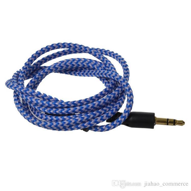 Örgülü Ses Yardımcı Kablo 1 m 3.5mm Dalga AUX Uzatma Erkek Stereo Araba Naylon Kordon Jack akıllı telefon için Kulaklık Hoparlör