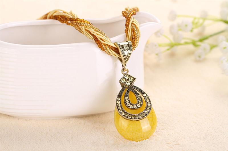 Новое прибытие чешский ожерелье кулон национальный стиль мода сладкий ретро синий бирюзовый геометрические ожерелье LC-0017